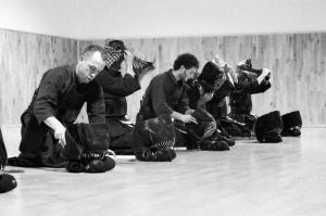 men tore. Clase de kendo en el dojo Zanshin Madrid. Noviembre 2012.