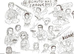 Dibujo de Daniel Kogan para su club de kendo, el Bokuto Kai de Ibagué, Tolima, Colombia.