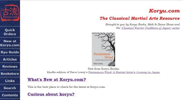 Koryu.com es la evolución digital de Koryu Books, una editorial independiente fundada por los budokas Diane y Meik Skoss en Nueva Jersey. Tienen un catálogo muy limitado pero exhaustivo y selecto, cuyo título más importante sea probablemente Warrior Tradition, un ensayo bilingüe sobre Katori Shinto Ryu firmado por el propio Ritsuke Otake.